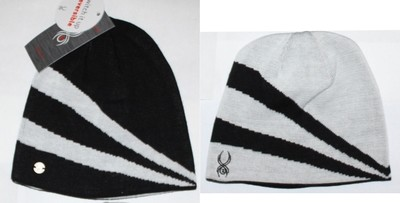 Spyder Switch It Up Women's Black/White Jacquard Stripe Reversible Beanie (One Size)