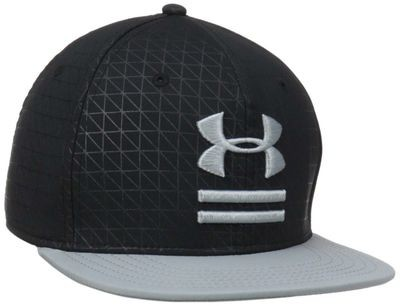 Under Armour Men's Debossed Black/Steel Flat Brim Stretch Fit Hat (Medium/Large)