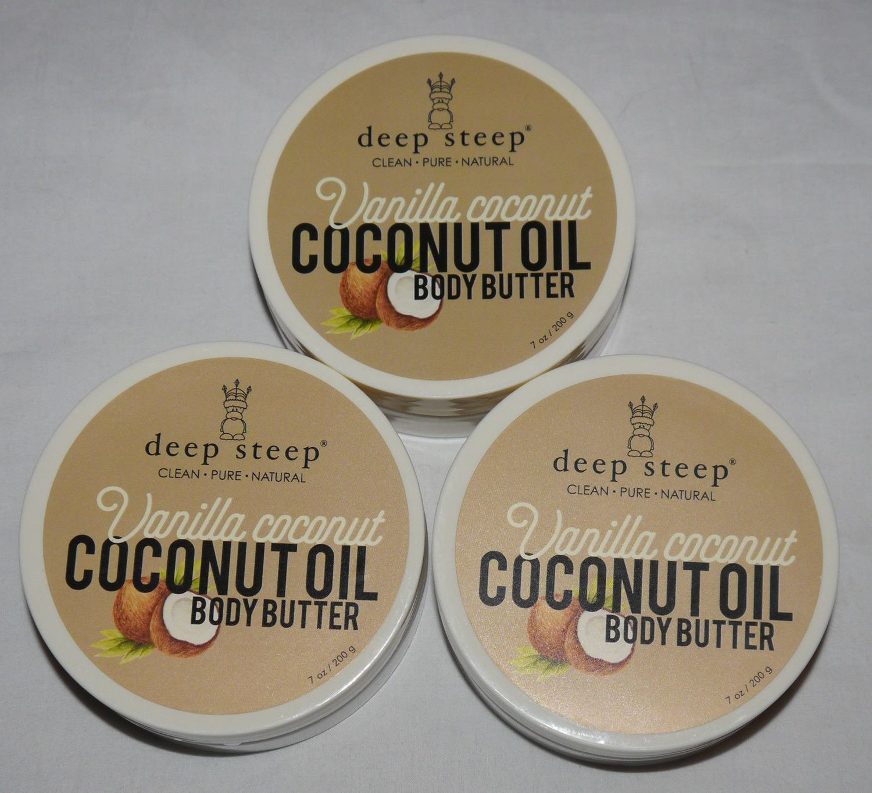 Lot Of 3 Deep Steep COCONUT OIL Vanilla Coconut Body Butter 7 oz Each