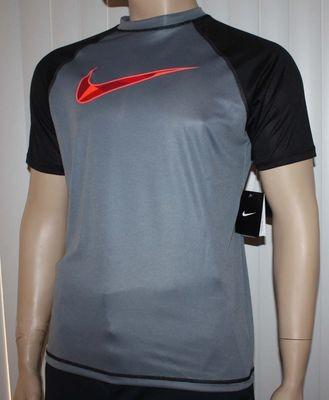 Nike Men's Dri-Fit Gray/Black Checked Swoosh UPF 40 + Shirt -Small