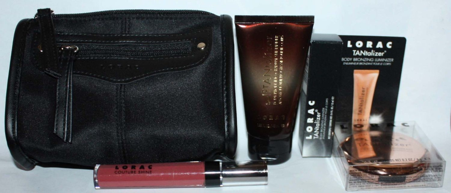 4 Pc LORAC Sun-Kissed Glow Tantalizer Collection + Makeup Bag