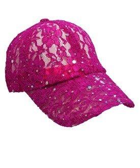 Lacey Glitter Cap - Hot Pink
