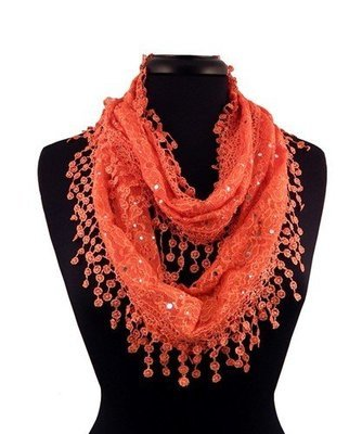 Lacey Infinity Scarf - Orange