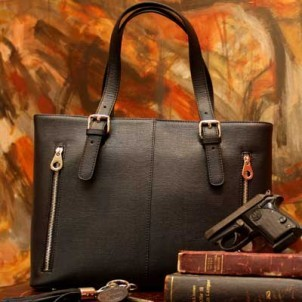 Concealed Carrie Black Leather Tote