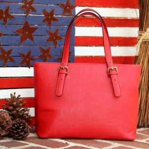 Concealed Carrie Red Leather Tote