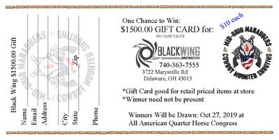 Black Wing Gift Card Raffle Ticket