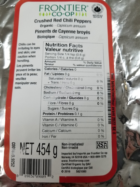 Piments de cayenne broyés (Assaisonnement Chili en poudre) 454g biologique