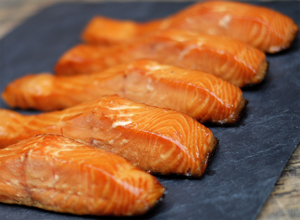 2 Hot sMoked Salmon Portions 1Lb Each