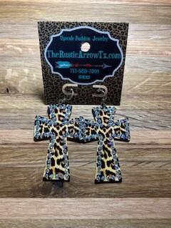 Leopard Cross Earrings