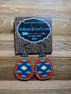 Orange and Blue Aztec Earring