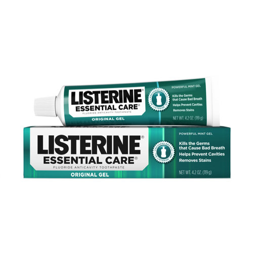 Listerine Essential Care Powerful Mint Original Gel Fluoride Toothpaste 124 ml معجون بالنعناع القوي و الفلورايد