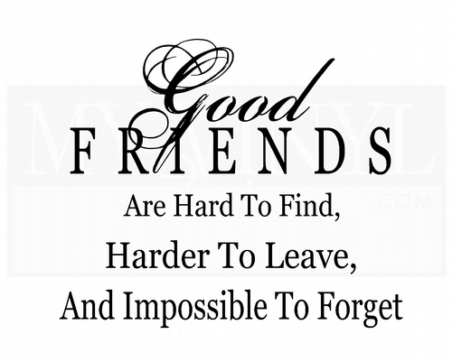 FR008 Good friends are hard to find, harder to leave, and impossible to forget