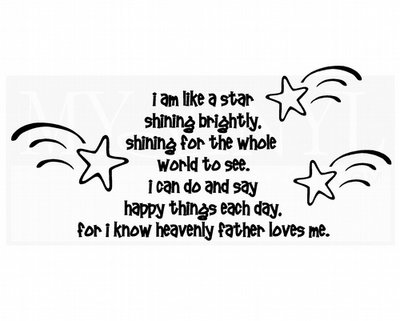 CL011 I am like a star shining brightly, shining for the whole world to see wall stickers