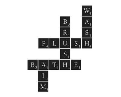 BC111 Bath Scrabble wall decal saying