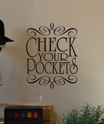 CLEARANCE Check your Pockets  19 x 5 in black