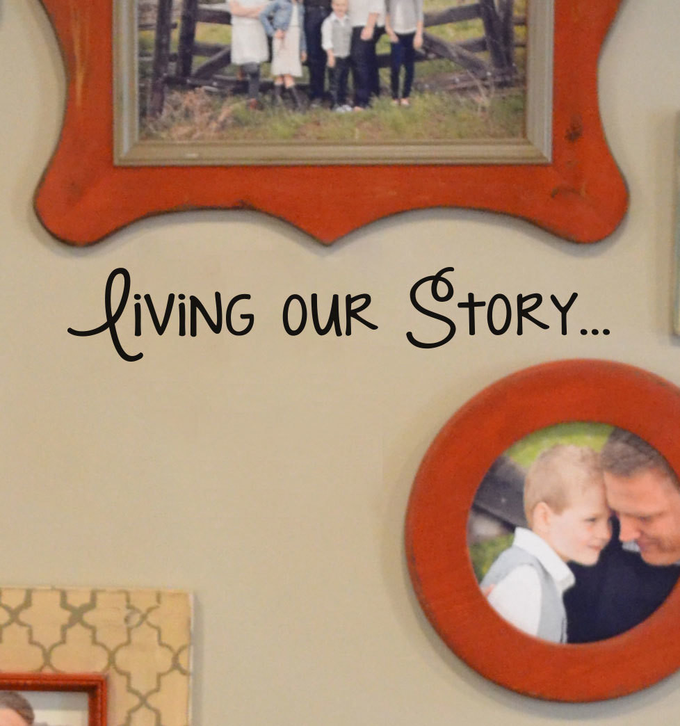 CLEARANCE Living our story 23 x 4 decal vinyl sticker