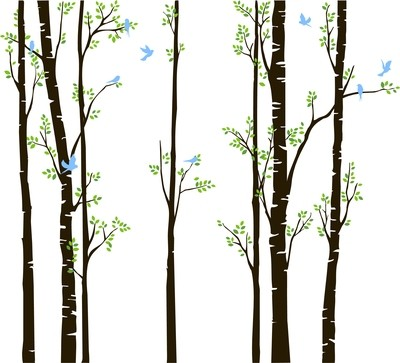 IM008 7 Aspen Trees with leaves and birds
