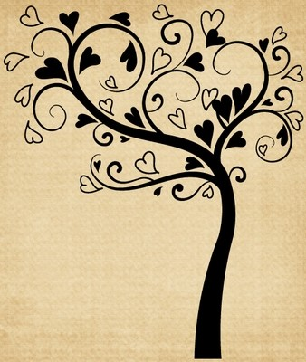 TR022 Tree with Swirls and Hearts