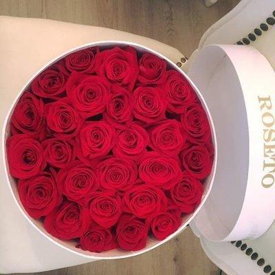 Round box rosas dentro de la caja
