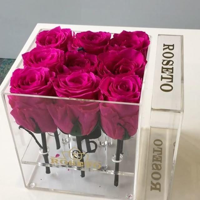 Acrylic small square box rosas eternizadas
