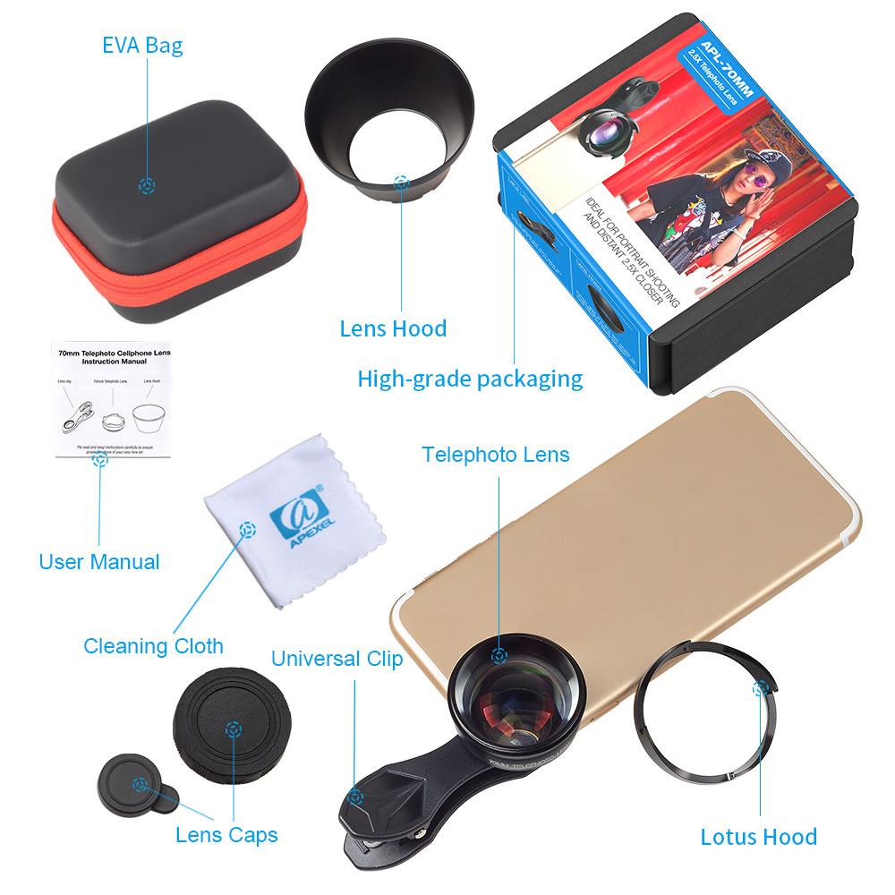 Apexel 70mm Professional 2.5X HD SLR Zoom/ Tele Phone lens