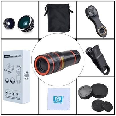 Apexel 12x Zoom + 15x Macro + 0.63x Wide-angle + 198 degree Fisheye Phone lens + Tripod + Phone holder