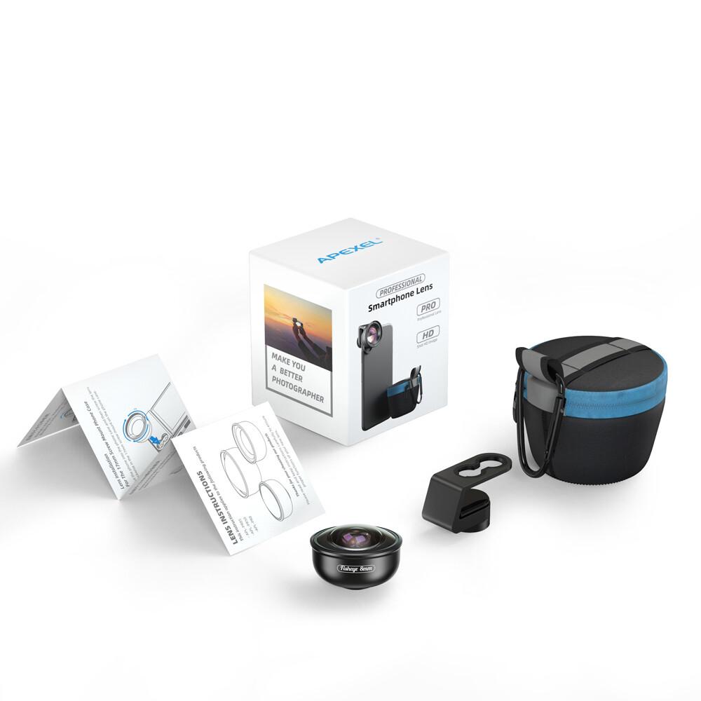 APEXEL HD 8mm 185 degree Super Fisheye 4K professional Mobile Phone lens