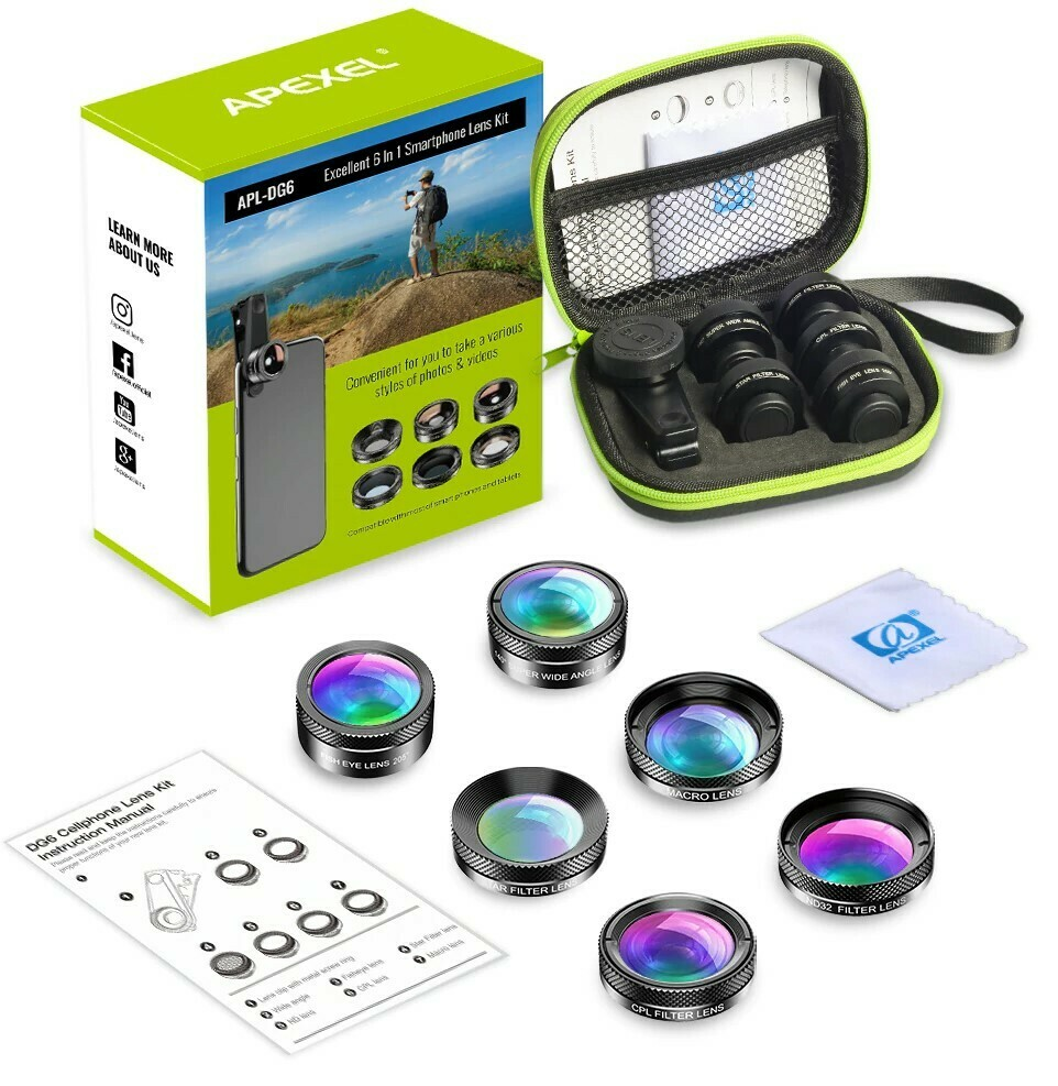 Apexel 6 in 1 Phone Lens Pack [2020 Upgraded Lens]