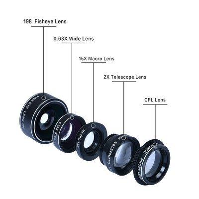Apexel 5 in 1 Phone Lens Combo Pack
