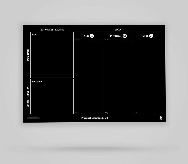 Vi-Board: Prioritization Kanban Board 3 Spalten - Blackboard Poster - DIN A0