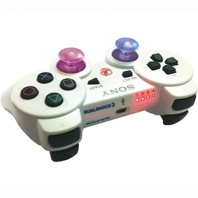 6,000 Mode Ps3 Modded Controllers Playstation 3 Mod Controllers Ps3 White With Color Sticks