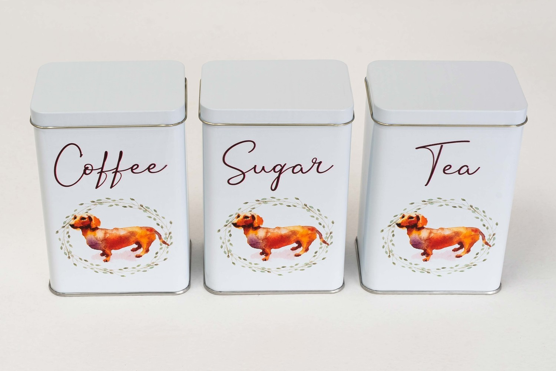 Tea, Coffee and Sugar Set - Brown Dog - English