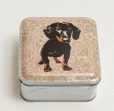 ​Dachshund Novelty Tin -  Beige Patterned Background