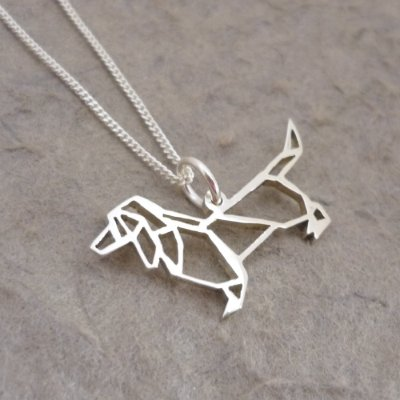 Silver Pendant and Chain - Origami inspired Dachshund