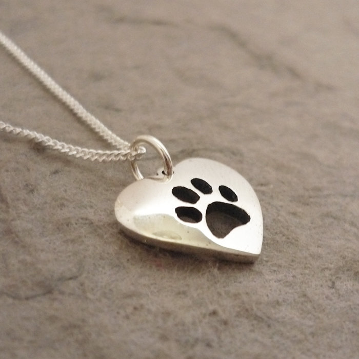Sterling Silver Pawprint Heart Pendant on Chain