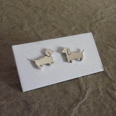 Sterling Silver Dachshund Earrings - Cute Dogs