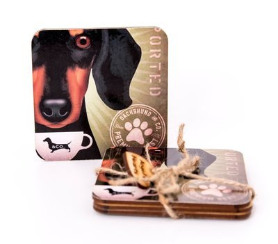 Set of Dachshund Coasters Design 5- Dachshund & Co Coffee​
