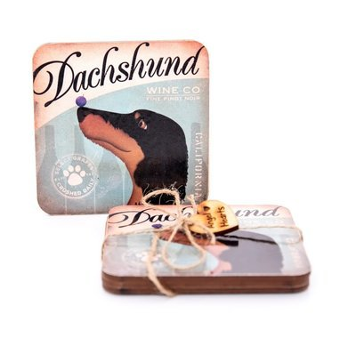 Set of Dachshund Coasters Design 6 - Dachshund Wine Company