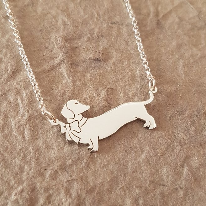 Sterling Silver Pendant & Chain - Dachshund With Bow