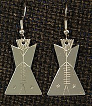 Earrings:  Tipis, 1 piece, 1 3/4