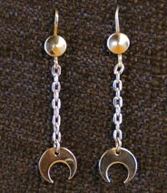 Earrings:  Crescents on Chains w/ Handmade Wires  2