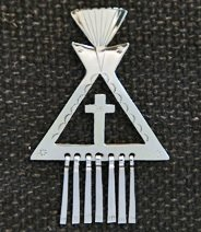 Pin:  Tipi with Cross Cut-Out and Metal Fringes, 2 1/2