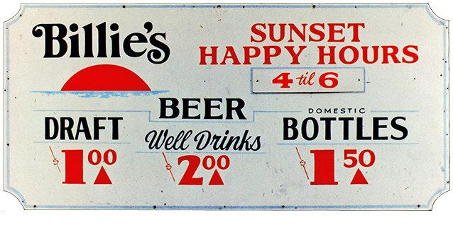 BILLIE'S HAPPY HOUR * 5'' x 11'' 10010