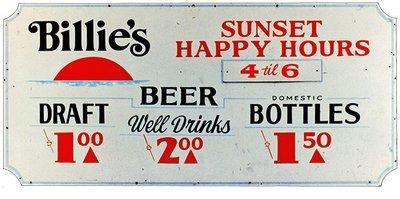 BILLIE'S HAPPY HOUR * 5'' x 11''