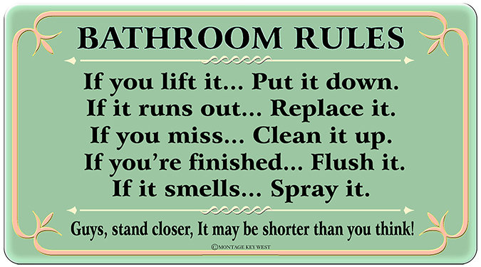 BATHROOM RULES * 6'' x 11'' 10104