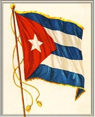 CUBAN FLAG WAVING * 7'' x 11''