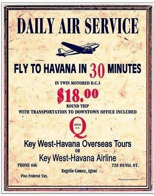 DAILY AIR SERVICE TO HAVANA * 8'' x 11''