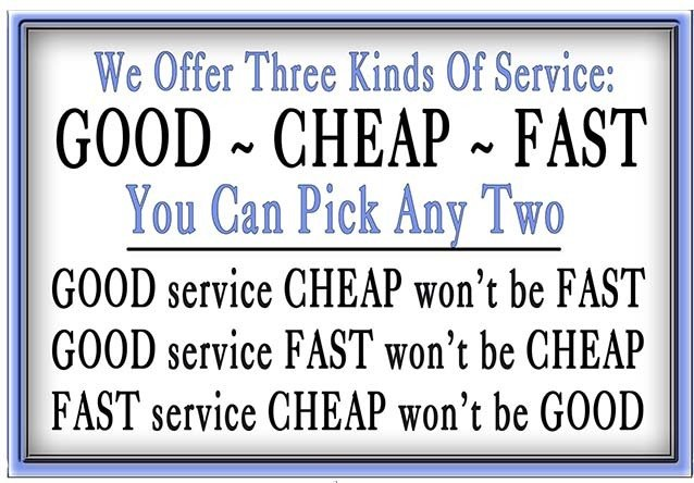 """3 KINDS OF SERVICE  * 7"""" x 11"""""""