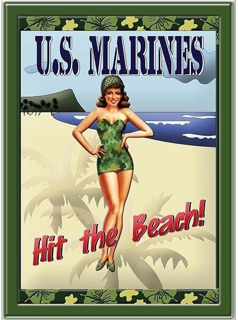 MARINES HIT THE BEACH * 7'' x 11'' 10446