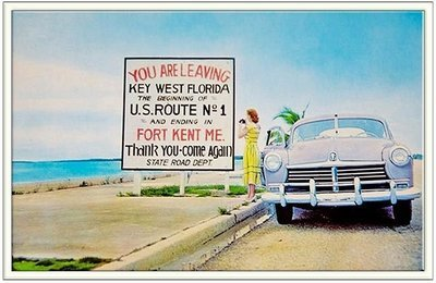 YOU ARE LEAVING KEY WEST POSTCARD * 6'' x 11''